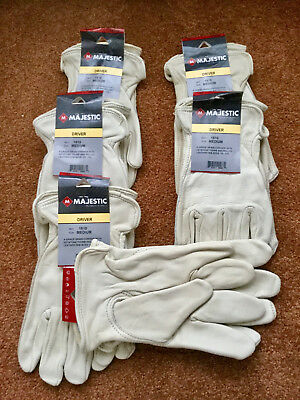 LOT of 6 Pair NEW MAJESTIC 1510 MED/Size 9 Cowhide Leather DRIVER'S GLOVES
