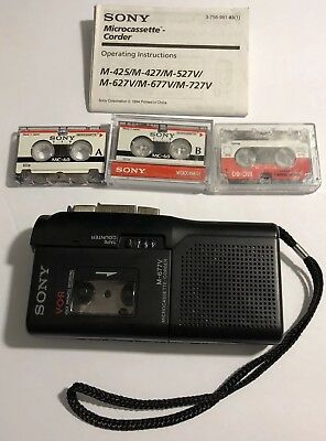 Sony M-677V Handheld Micro cassette Recorder (tested Works Great)
