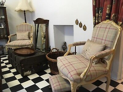 Pair of French Louis style Fauteuils Armchairs