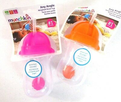 Munchkin Click Lock Any Angle 2 Piece Weighted Straw Cup Babys kids Sippy Cup []