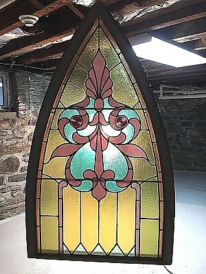 Antique American Stained Glass Window Original