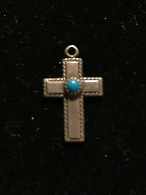 Vintage Small Silver Cross with Turquoise Stone