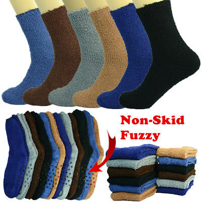Lot 3-10 Pairs For Winter Soft Cozy Fuzzy Socks With Non-Skid Solid Home Slipper