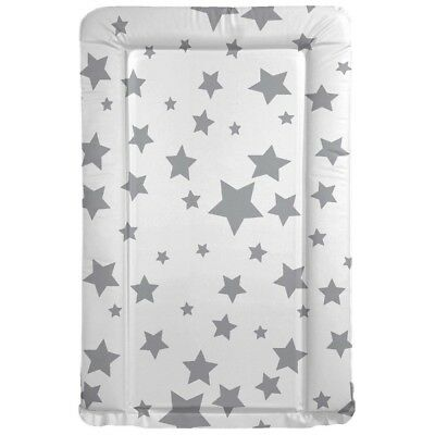 Baby Changing Mat Grey Stars - Nursery - Easy Wipe Clean PVC Padded Pink Blue