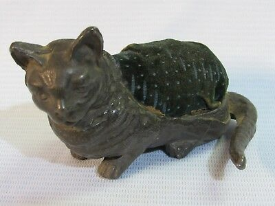 ANTIQUE 1800's VICTORIAN METAL CAT SEWING PIN CUSHION ORIGINAL VELVET TOP