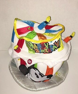Mickey Mouse Walt Disney Happy Birthday Top Hat Cake With Candles Light Up B3