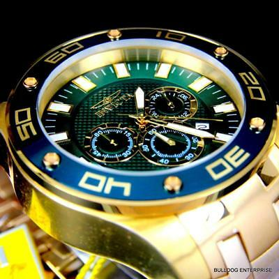 Men's Invicta Pro Diver Scuba 50mm 18kt Gold Plated Green Chronograph Watch New