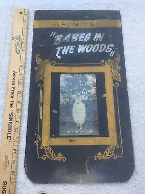 "original Mutoscope  Marquee Card .#7662 ""Babes in the Woods"" 1910/1920"
