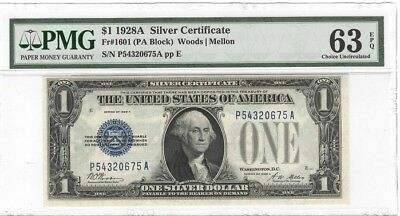 1928A $1.00 Fr. 1601, SILVER CERTIFICATE, FUNNY BLUE SEAL, PMG 63, Choice Unc.
