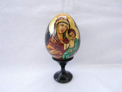 Russian Icon Madonna and Child Hand Painted Egg