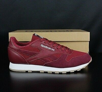 separation shoes cb007 f2c13 REEBOK BS9720 Maroon White Blue Classic Leather Mens Athletic Running Shoes
