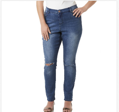 8abe686430e Simply Emma Women s Distressed Skinny Stretch Jeans Medium Wash Plus Size  18W