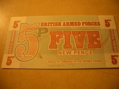British Armed Forces Banknote 5 New Pence Unc
