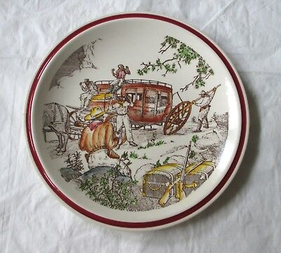 "Vernon Kilns Bits of the Old West STAGE ROBBERS 8.5"" Plate (c. 1940s)"