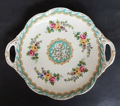 Royal Standard Handled Plate Fascination Pattern with Central Floral Bouquets