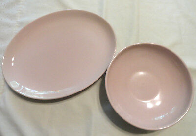 Russel Wright PINK Iroquois Oval Platter & Round Serving Bowl