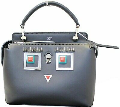 FENDI DotCom Faces Click Top Handle Embellished Leather Shoulder Handbag aab008aac46ba