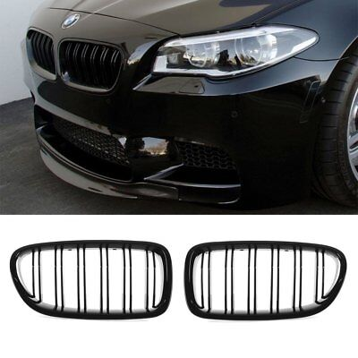 BMW 5er F10 F11 F18 M5 gloss black front kidney grille grilles twin double slat