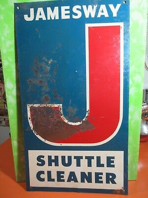 VINTAGE 1960's JAMESWAY SHUTTLE CLEANER FARM SIGN FFA 4H REG. HOLSTIENS FARMER