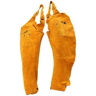 """Cowhide Leather 23"""" Split Welding Sleeves With Studs Front around Neck, Golden"""
