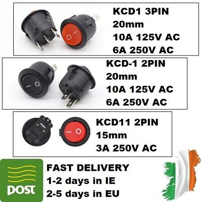 1/2/5/10pcs SPST Round Boat Rocker Switch On-Off KCD1 KCD1-2 KCD11