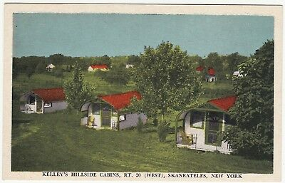 1930s Postcard - Skaneateles Lake NY - Kelley's Hillside Cabins Route 20 -Unused