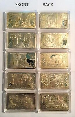 Set of 5 x 1 OZ Polymer Australian Note Series Ingots, FINISHED IN 999 24k Gold.