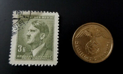 Authentic Rare German WW2 Circulated Coin and Used Stamp WORLD WAR 2