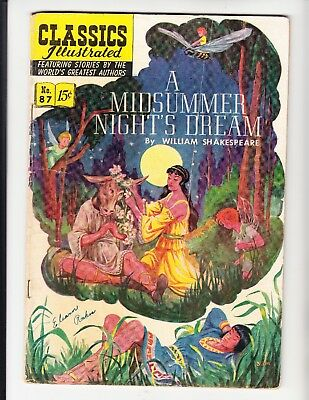 "CLASSICS ILLUSTRATED #87 (HRN 87-O) ""A Midsummer Night's Dream"" LDC 3.0 (1951)"