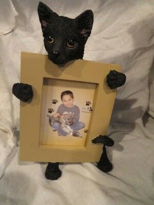 "Black Cat Holding Picture Frame Holds 3"" by 2"" Photo Great for a Pet Photo"