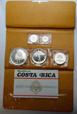 1970 Republic Costa Rica Silver Colones 5 Coin Proof Set W/ Org Packaging & COA
