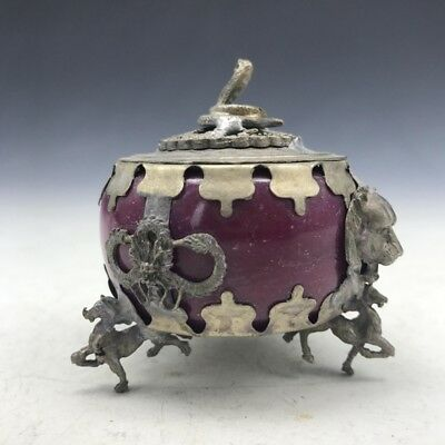 Ancient Chinese (jade) outsourcing rare Tibetan silver incense burner