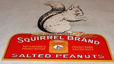 "Vintage ""squirrel Brand Salted Peanuts"" 20"" X 19"" Candy, Nut, Gas Oil Metal Sign"