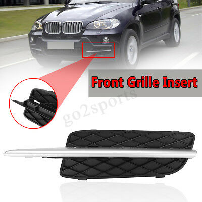 For Bmw X5 E70 2007-2010 New Front Bumper N/s Left Grill With Silver Trim