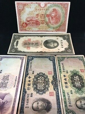 1930 China 1936 1937 Yuan 5 10 Currency Lot 1945 100 Yen Japan Occupation Note