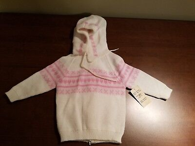 Vintage 70's dr. denton's Baby Girl Pink/White Knit Zip Sweater Sz 12-M NOS NWT