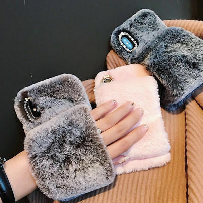 Soft Warm Plush Fluffy Phone Case Cover Comfy Faux Fur Fr iPhone X XR XS MAX 8 7
