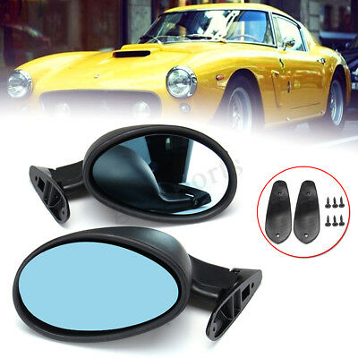 Pair Classic Universal Car Door Side Wing Mirrors & Gaskets Vintage Matte Black
