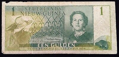 1954 NETHERLANDS NEW GUINEA 1 GULDEN P # 11a