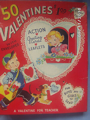 Vintage Lot of 55 Valentine Cards Some Moveable