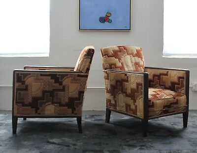 Pair of French Art Deco Lounge Club Chairs
