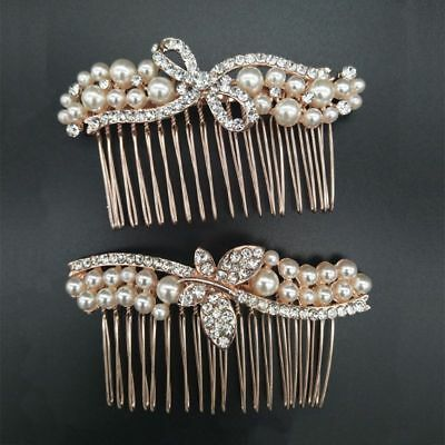 Rhinestones Faux Pearls Bow Butterfly Hair Comb Hair Pins Clip Wedding Bridal