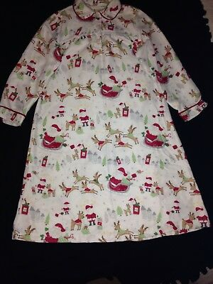 POTTERY BARN KIDS~PBK SANTA SLEIGH REINDEER CHRISTMAS PAJAMAS nightgown~GIRLS 6