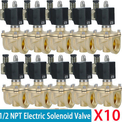 (X10) 1/2 in 110V-120V AC Slim Brass Solenoid Valve NPS Gas Water Air Normal MA