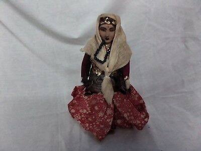 "Antique vintage handmade GYPSY doll 9"". different fabrics stuffed body"
