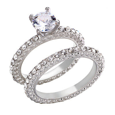 Womens Stainless Steel Princess Cut Wedding Engagement Ring Set Size 5-11