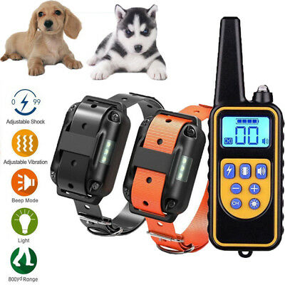 Pet Dog Training Collar 800 Yard Rechargeable Electric Remote LCD 100LV E-Shock