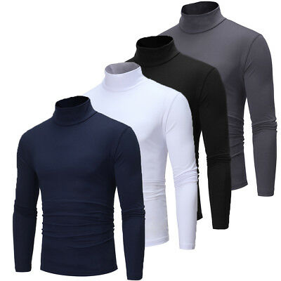 Mens Cotton Turtle Neck Skivvy Turtleneck Sweaters Stretch Shirt Tops