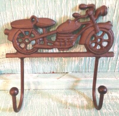 Motorcycle 2 Hook Cast Iron Wall Mount Rustic Old Fashioned New Vintage 6 1/2x6