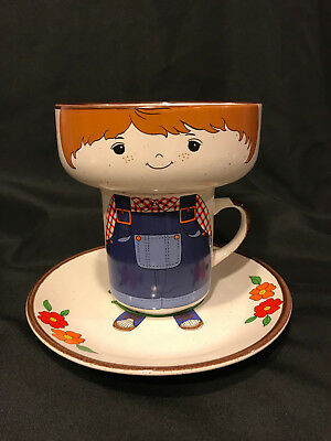 Vintage Interpur Children's Stacking Boy 3pc Bowl Plate Mug Cup